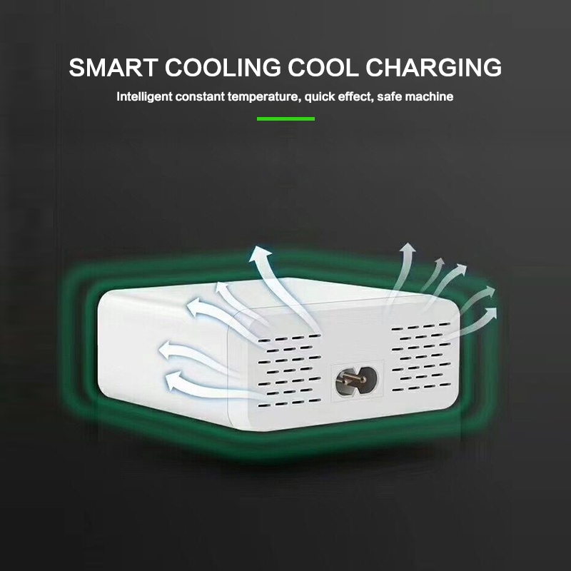 896 40W QC 3.0 6 USB Ports Fast Charger with LCD Digital Display, EU Plug (White)