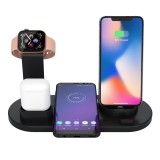 HQ-UD15 5 in 1 8 Pin + Micro USB + USB-C / Type-C Interfaces + 8 Pin Earphone Charging Interface + Wireless Charging Charger Base with Watch Stand (Black)