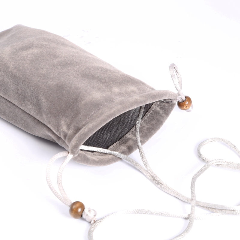6.9 inch Universal Leisure Cotton Flock Cloth Carry Bag with Lanyard for iPhone 8 Plus, Galaxy S10+, Huawei Mate 20X, Xiaomi Max (Silver Grey)