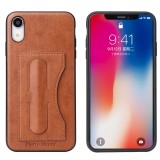 Fierre Shann Full Coverage Protective Leather Case for iPhone XR, with Holder & Card Slot (Brown)