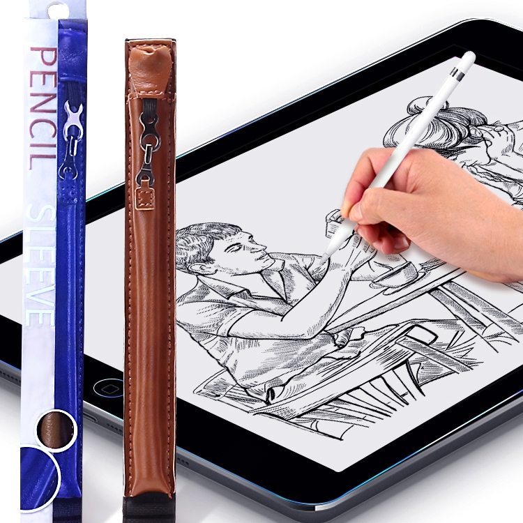 PU Leather Waterproof Hook Pen Cap Anti-lost Apple Pencil Stylus Protective Cover for iPad Pro 12.9 inch / Pro 11 inch (2018) / Pro 10.5 inch / 9.7 inch / 7.9 inch, with Silicone Pen Tip (Grey)