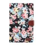 Flower Pattern Cloth Surface PC Horizontal Flip Leather Protective Case for Galaxy Tab A 10.1 2019 T510 & T515, with Holder & Card Slots & Wallet & Photo Frame (Black)