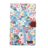Flower Pattern Cloth Surface PC Horizontal Flip Leather Protective Case for Galaxy Tab A 10.1 2019 T510 & T515, with Holder & Card Slots & Wallet & Photo Frame (Blue)
