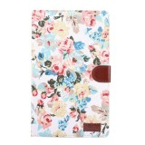 Flower Pattern Cloth Surface PC Horizontal Flip Leather Protective Case for Galaxy Tab A 10.1 2019 T510 & T515, with Holder & Card Slots & Wallet & Photo Frame (White)