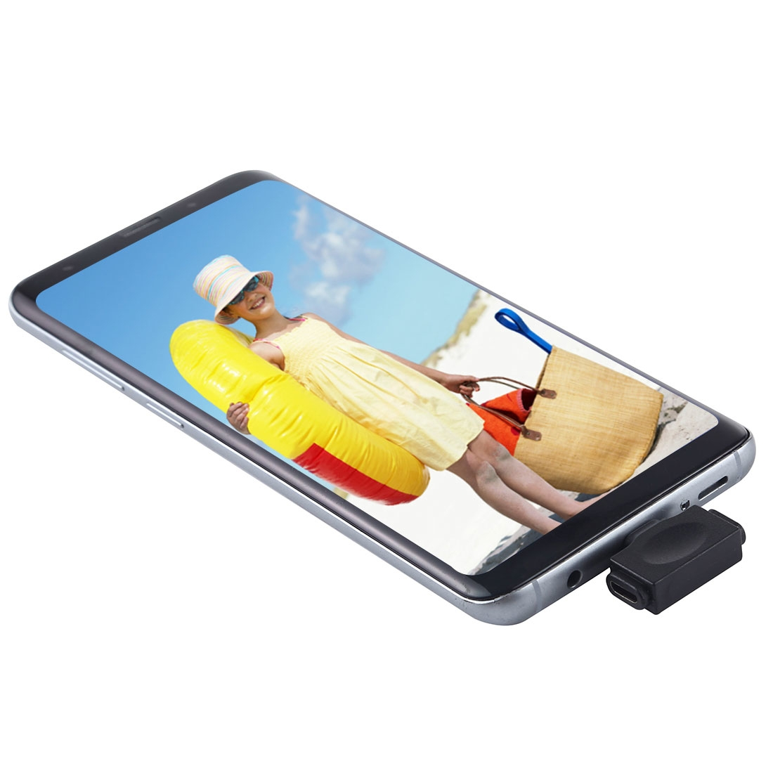 8 Pin Female + Micro USB Female to USB-C / Type-C Male Multi-function Adapter (Black)