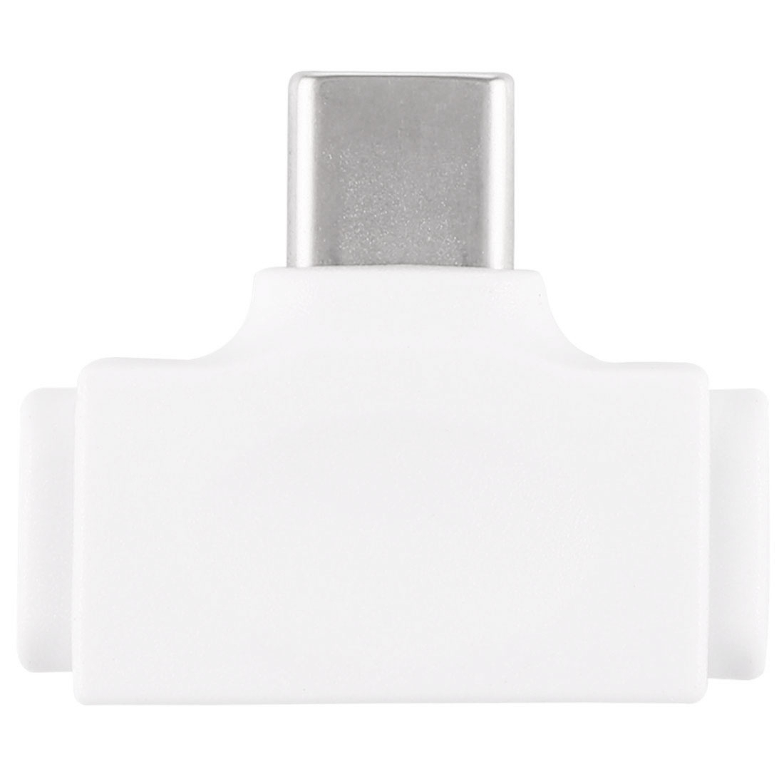 8 Pin Female + Micro USB Female to USB-C / Type-C Male Multi-function Adapter (White)