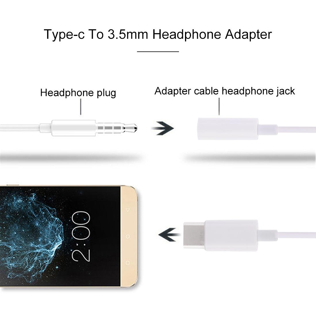 9cm USB-C / Type-C Male to 3.5mm Audio Female Adapter Converter (White)