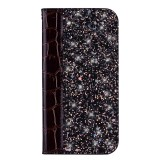 Crocodile Texture Glitter Powder Horizontal Flip Leather Case for Galaxy A50, with Card Slots & Holder (Black)