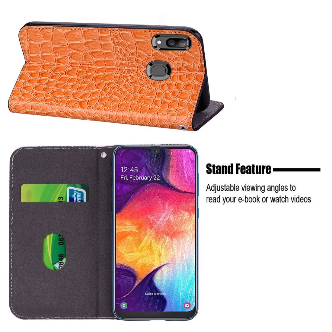 Crocodile Texture Glitter Powder Horizontal Flip Leather Case for Galaxy A50, with Card Slots & Holder (Orange)