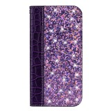 Crocodile Texture Glitter Powder Horizontal Flip Leather Case for Galaxy A50, with Card Slots & Holder (Purple)