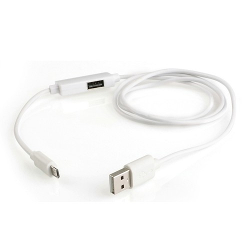 OTG-Y-02 USB 2.0 Male to Micro USB Male + USB Female OTG Charging Data Cable for Android Phones / Tablets with OTG Function, Length: 1.1m (White)
