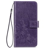 Lucky Clover Pressed Flowers Pattern Leather Case for Huawei Honor 9X Pro, with Holder & Card Slots & Wallet & Hand Strap (Purple)