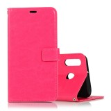 Crazy Horse Texture Horizontal Flip Leather Case with Holder & Card Slots & Wallet & Photo Frame for Huawei Honor P20 lite (Magenta)