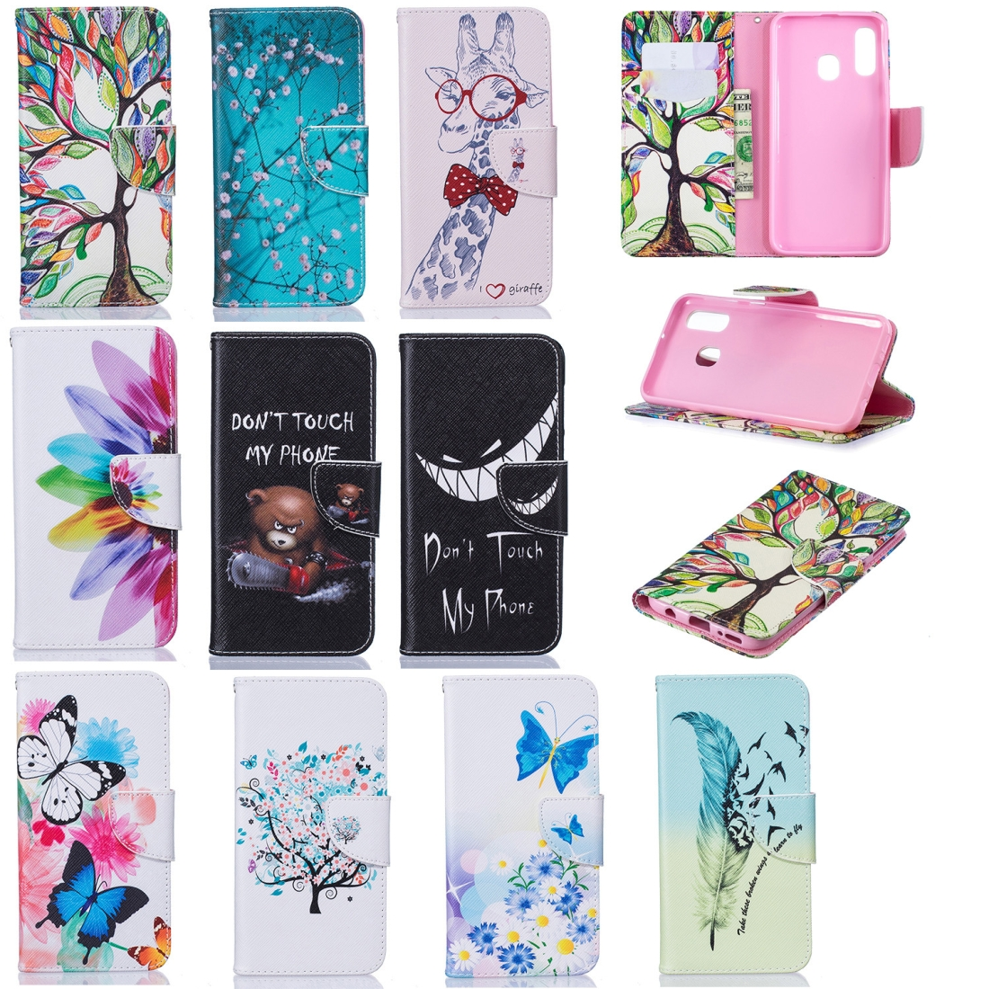 Colored Drawing Pattern Horizontal Flip Leather Case for Samsung Galaxy A40,with Holder & Card Slots & Wallet (Two Butterflies)