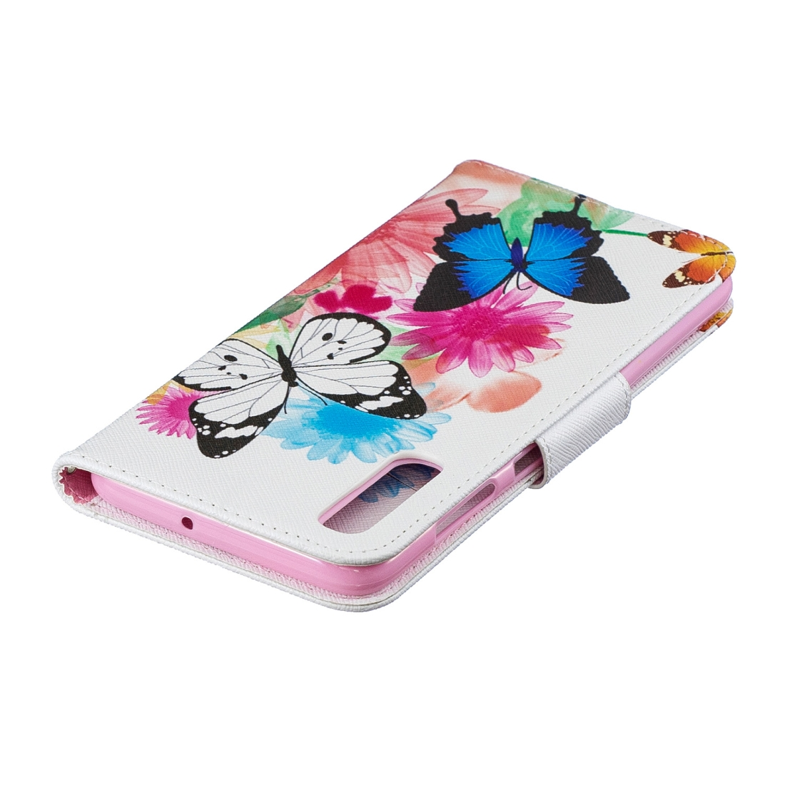 Colored Drawing Pattern Horizontal Flip Leather Case for Samsung Galaxy A70&A7,with Holder & Card Slots & Wallet (Two Butterflies)