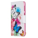 Colored Drawing Pattern Horizontal Flip Leather Case for Samsung Galaxy M30,with Holder & Card Slots & Wallet (Two Butterflies)