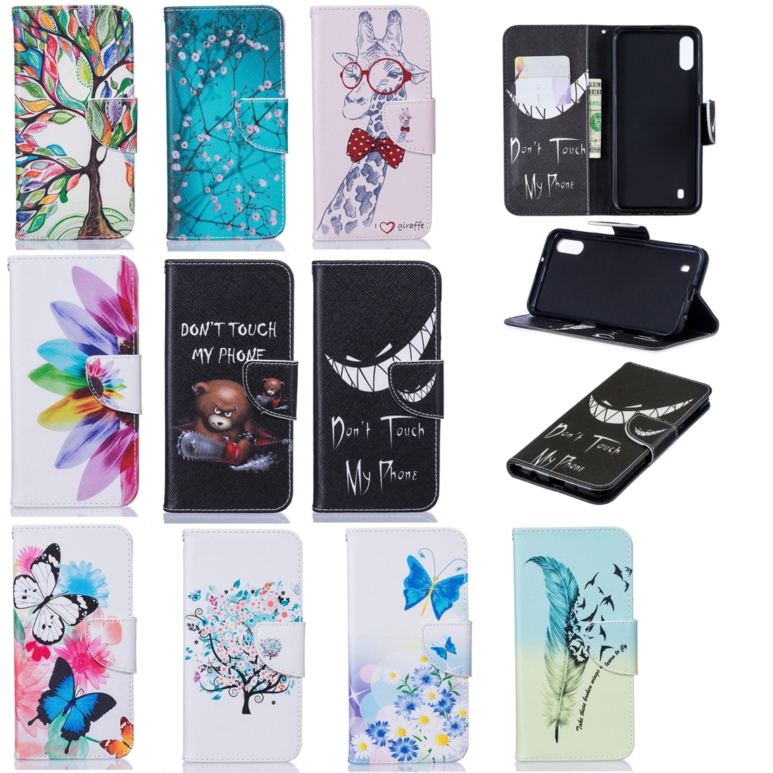 Colored Drawing Pattern Horizontal Flip Leather Case for Samsung Galaxy M10,with Holder & Card Slots & Wallet (Two Butterflies)