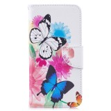 Colored Drawing Pattern Horizontal Flip Leather Case for Samsung Galaxy M20,with Holder & Card Slots & Wallet (Two Butterflies)