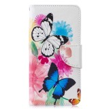 Colored Drawing Pattern Horizontal Flip Leather Case for Samsung Galaxy S10,with Holder & Card Slots & Wallet (Two Butterflies)