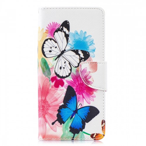 Colored Drawing Pattern Horizontal Flip Leather Case for Samsung Galaxy S10 Plus,with Holder & Card Slots & Wallet (Two Butterflies)