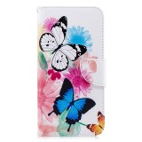 Colored Drawing Pattern Horizontal Flip Leather Case for Samsung Galaxy A7&A750,with Holder & Card Slots & Wallet (Two Butterflies)