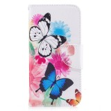 Colored Drawing Pattern Horizontal Flip Leather Case for Samsung Galaxy A8 Plus,with Holder & Card Slots & Wallet (Two Butterflies)