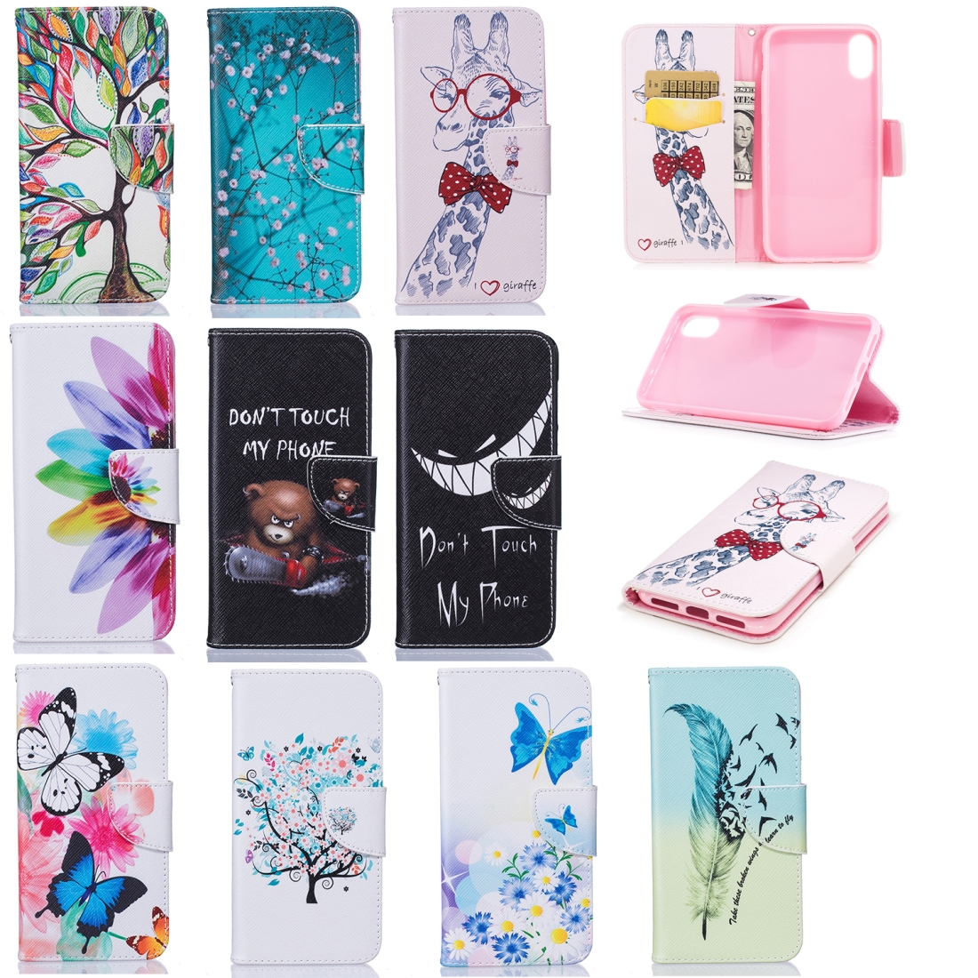 Colored Drawing Pattern Horizontal Flip Leather Case for Samsung Galaxy A8&A530,with Holder & Card Slots & Wallet (Two Butterflies)