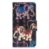3D Colored Drawing Pattern Horizontal Flip Leather Case for Samsung Galaxy A40, with Holder & Card Slots & Wallet (Two Elephants)
