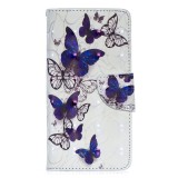 3D Colored Drawing Pattern Horizontal Flip Leather Case for Samsung Galaxy A40, with Holder & Card Slots & Wallet (Butterflies)