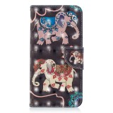 3D Colored Drawing Pattern Horizontal Flip Leather Case for Samsung Galaxy S10e, with Holder & Card Slots & Wallet (Two Elephants)