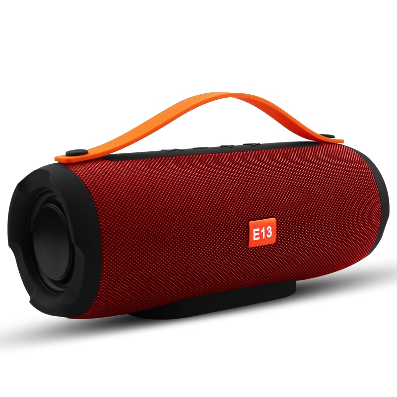 E13 Mini Portable Wireless Bluetooth Speaker Stereo Speakerphone Radio Music Subwoofer Column Speakers with TF FM, RED: RED