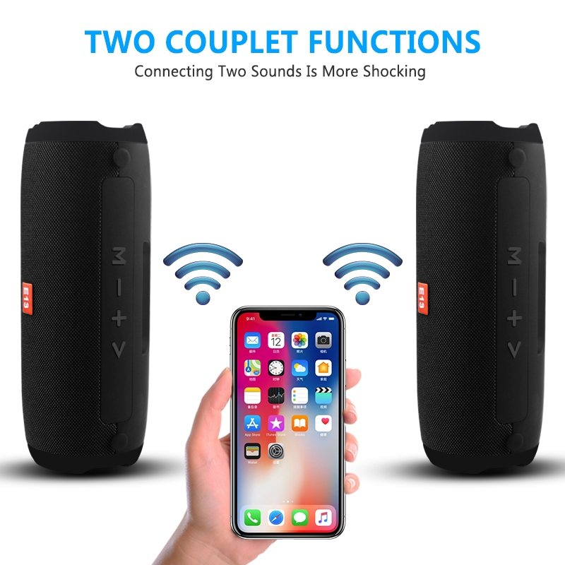 E13 Mini Portable Wireless Bluetooth Speaker Stereo Speakerphone Radio Music Subwoofer Column Speakers with TF FM, RED: BLUE
