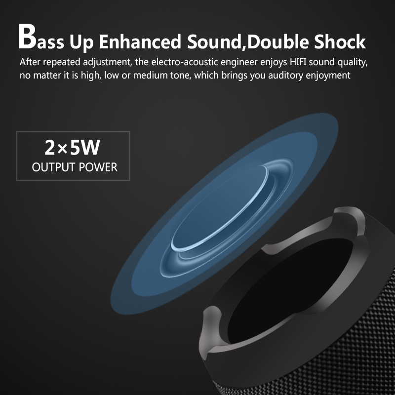E13 Mini Portable Wireless Bluetooth Speaker Stereo Speakerphone Radio Music Subwoofer Column Speakers with TF FM, RED: BLACK