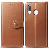 Retro Solid Color Leather Buckle Mobile Phone Protection Leather Case with Photo Frame & Card Slot & Wallet & Bracket Function for Galaxy A40 (Brown)
