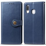 Retro Solid Color Leather Buckle Mobile Phone Protection Leather Case with Photo Frame & Card Slot & Wallet & Bracket Function for Galaxy A40 (Blue)