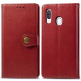 Retro Solid Color Leather Buckle Mobile Phone Protection Leather Case with Photo Frame & Card Slot & Wallet & Bracket Function for Galaxy A40 (Red)