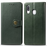 Retro Solid Color Leather Buckle Mobile Phone Protection Leather Case with Photo Frame & Card Slot & Wallet & Bracket Function for Galaxy A40 (Green)