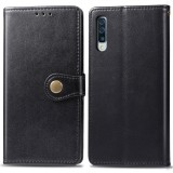 Retro Solid Color Leather Buckle Mobile Phone Protection Leather Case with Photo Frame & Card Slot & Wallet & Bracket Function for Galaxy A70 (Black)