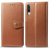 Retro Solid Color Leather Buckle Mobile Phone Protection Leather Case with Photo Frame & Card Slot & Wallet & Bracket Function for Galaxy A70 (Brown)