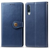 Retro Solid Color Leather Buckle Mobile Phone Protection Leather Case with Photo Frame & Card Slot & Wallet & Bracket Function for Galaxy A70 (Blue)