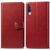 Retro Solid Color Leather Buckle Mobile Phone Protection Leather Case with Photo Frame & Card Slot & Wallet & Bracket Function for Galaxy A70 (Red)