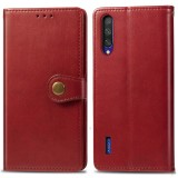 Retro Solid Color Leather Buckle Mobile Phone Protection Leather Case with Lanyard & Photo Frame & Card Slot & Wallet & Bracket Function for Xiaomi Mi CC9e (Red)