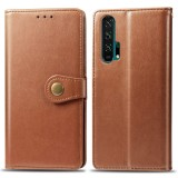 Retro Solid Color Leather Buckle Mobile Phone Protection Leather Case with Lanyard & Photo Frame & Card Slot & Wallet & Bracket Function for Huawei Honor 20 Pro (Brown)