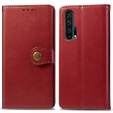 Retro Solid Color Leather Buckle Mobile Phone Protection Leather Case with Lanyard & Photo Frame & Card Slot & Wallet & Bracket Function for Huawei Honor 20 Pro (Red)