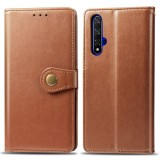 Retro Solid Color Leather Buckle Mobile Phone Protection Leather Case with Lanyard & Photo Frame & Card Slot & Wallet & Bracket Function for Huawei Honor 20 (Brown)
