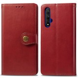 Retro Solid Color Leather Buckle Mobile Phone Protection Leather Case with Lanyard & Photo Frame & Card Slot & Wallet & Bracket Function for Huawei Honor 20 (Red)