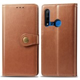 Retro Solid Color Leather Buckle Mobile Phone Protection Leather Case with Lanyard & Photo Frame & Card Slot & Wallet & Bracket Function for Huawei P20 lite 2019 / Nova 5i (Brown)