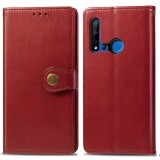 Retro Solid Color Leather Buckle Mobile Phone Protection Leather Case with Lanyard & Photo Frame & Card Slot & Wallet & Bracket Function for Huawei P20 lite 2019 / Nova 5i (Red)