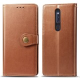 Retro Solid Color Leather Buckle Mobile Phone Protection Leather Case with Lanyard & Photo Frame & Card Slot & Wallet & Bracket Function for OPPO F11 / A9 (Brown)