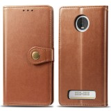 Retro Solid Color Leather Buckle Mobile Phone Protection Leather Case with Lanyard & Photo Frame & Card Slot & Wallet & Bracket Function for MOTO Z4 (Brown)